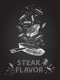 Steak flavor quotes illustration on chalkboard Royalty Free Stock Photo