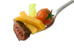 Steak on fork Royalty Free Stock Images