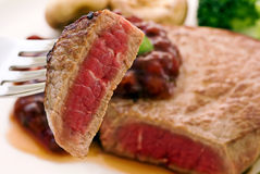 Steak on Fork Stock Photography
