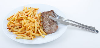 Steak and french fries Royalty Free Stock Images