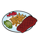 Steak with french fries. Green peas and tomato sauce on the plate. Vector graphic stock illustration