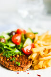Steak with french fries and salad Stock Photography