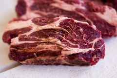 Steak fresh, raw, cut into steaks a piece of meat. Beef steaks Royalty Free Stock Images