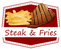 Steak and fries label Royalty Free Stock Photos