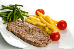 Steak and fries- left side Royalty Free Stock Photo