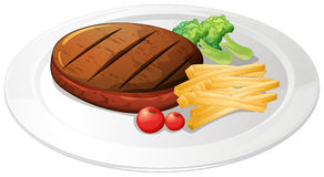 Steak and fries on the plate Royalty Free Stock Image