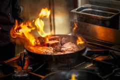 Steak in the frying pan Royalty Free Stock Photo