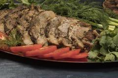 Steak gebraten mit Gemüse in der Folie Lizenzfreie Stockfotografie