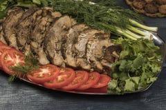 Steak gebraten mit Gemüse in der Folie Lizenzfreies Stockfoto