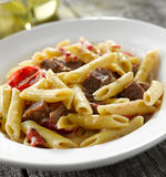 Steak gorgonzola pasta dish Stock Images