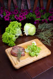 Steak with greens Royalty Free Stock Images