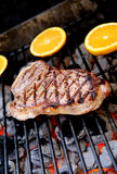 Steak on Grill Royalty Free Stock Photos