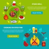 Steak Grill And Cooking On Open Fire Flat Stock Photography