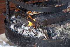 Steak on  grill with flames. Royalty Free Stock Photo