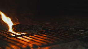 Steak on grill with flames. In background stock video footage