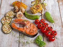 Steak grilled salmon with vegetables Royalty Free Stock Images