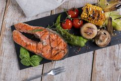 Steak grilled salmon with vegetables Stock Photo