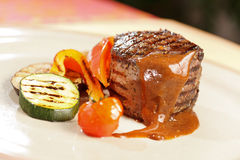 Steak with grilled vegetables Stock Image