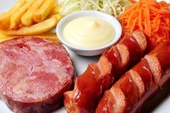 Steak ham pork sausage stock photo