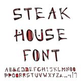 Steak House Decorative Meat Font, Alphabet. Realistic Doodle Cartoon Style Hand Drawn Sketch Vector Illustration.Isolated On a Whi Royalty Free Stock Photos