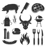 Steak House Elements Set. Steakhouse vintage elements collection with isolated silhouette monochrome images of meat products spices sauces and cutlery vector Stock Photo