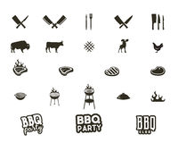 Steak house and grill silhouette textured icons. Black shapes isolated on white background. Included grill equipment Royalty Free Stock Photos