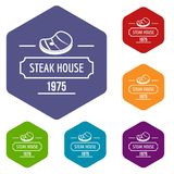 Steak house icons vector hexahedron. Steak house icons vector colorful hexahedron set collection isolated on white stock illustration