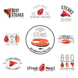 Steak house labels collection Royalty Free Stock Photos