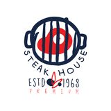 Steak house logo template premium estd 1968, vintage label colorful hand drawn vector Illustration Stock Photos