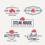 Steak House or Meat Store Vintage Typography Labels, Emblems, Logo Templates. Signs Set. Stock Photos