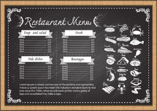 Steak house menu on chalkboard design template. Royalty Free Stock Images