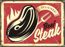 Steak house retro advertisement. With slice of beef meat on fire. Vintage tin sign design concept on old red background Royalty Free Stock Images