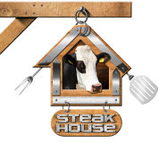 Steak House - Sign with Chain Stock Photo