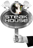 Steak House -  Sign with Hand of Chef Stock Image