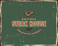 Steak house typography poster template in retro old style. Offset and letterpress design. Letter press label, emblem Royalty Free Stock Photography
