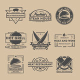 Steak house vintage  label set Royalty Free Stock Photos