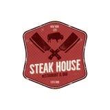 Steak House vintage Label. Typography letterpress design. Vector steak house retro logo. Included bbq grill symbols for. Customizing steak house badge.Colorful vector illustration