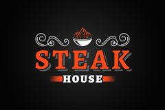 Steak house vintage logo with fire flame on black background. 8 eps Stock Image