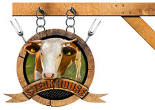 Steak House - Wooden Sign with Chain Stock Images