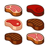 Steak Icons Set. Vector Royalty Free Stock Photo