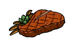 Steak illustration. Steak, cut of meat on white background illustration Royalty Free Stock Photography