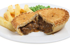 Steak & Kidney Pie & Chips Royalty Free Stock Images