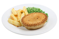 Steak & Kidney Pie & Chips Stock Photos