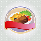 Steak label. One slice of meat with fries and vegetable for dinner. EPS 10 file, with no gradient meshes,blends,opacity, stroke path,brushes.Also all elements stock illustration