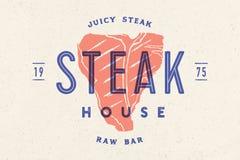 Steak, logo, meat label. Logo with steak silhouette royalty free stock image
