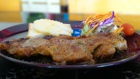 Steak. Lunch pork meat salad stock photo