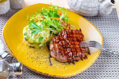 Steak with mashed potatoes Royalty Free Stock Photo