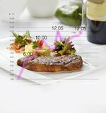 Steak with mashed potatoes and salad, isolated fat infographic
