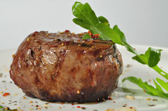 Steak meat with arugula. And herbs Stock Images