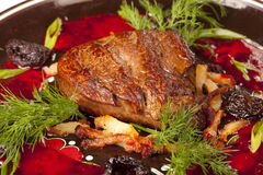 Steak meat grilled. With prunes and dill Stock Photo